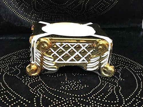 2x Medusa Barock Styl Aschenbecher Dekoration Schale Vase sehr Edel Luxus Aschen Becher GOLD/WEIß (Weiss)