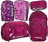 satch match Purple Leaves 5er Set Rucksack, Sporttasche, Schlamperbox, Heftebox & Regencape Lila