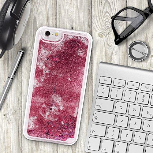 Urcover® Apple iPhone 6 / 6s Schutzhülle Glitzer Liquid Back-Case Cover in Lila Glitter Wasser Smartphone Schale Pink