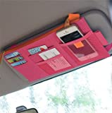 Lukzer 1 Pc Multifunction Car Sun Visor Storage Organizer Pouch CD Case Holder Card Pocket-Sunshade Storage Bag (Random Color)