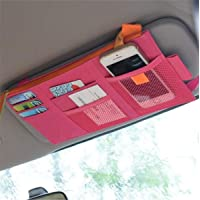 Lukzer 1 Pc Multifunction Car Sun Visor Storage Organizer Pouch CD Case Holder Card Pocket-Sunshade Storage Bag (Random…