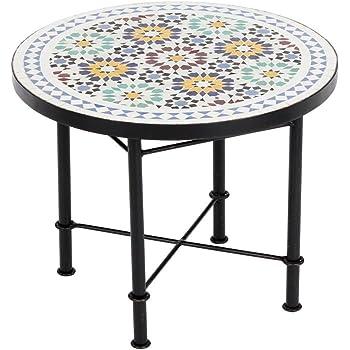 Albena Marokko Galerie 15 147 Lisu Marokkanischer Mosaiktisch Couchtisch  60cm (Lisu Weiss/blau/bunt)