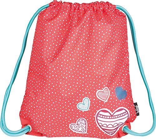 Baagl Kinder Sportsack für Sport und Schule - Wasserdichte Schuhbeutel, Turnbeutel für Mädchen (Hearts)