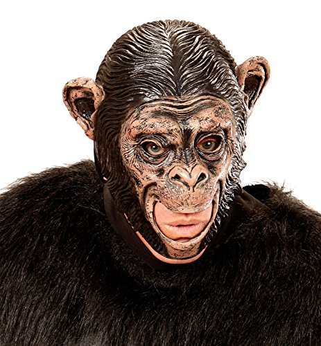 Widmann 00425 3/4 Maske Schimpanse mit offenem Mund für Erwachsene, (Schimpanse Kostüm Maske)