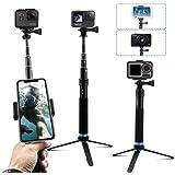 AuyKoo Bastone Selfie per Gopro Camera, Selfie Stick Telescopico Palo di Monopiede Pole con Treppiede per Gopro hero8…