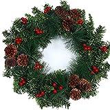 SUSICH Weihnachten Künstlicher Tannenkranz Ca. 35 cm,Türkranz Adventskranz Weihnachtskranz Weihnachtsdeko Kirschen?Pinienkerne