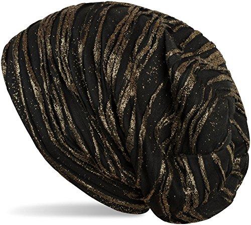 styleBREAKER Beanie Mütze mit Falten und All Over Glitzer, Slouch Longbeanie, Damen 04024147, Farbe:Schwarz/Gold