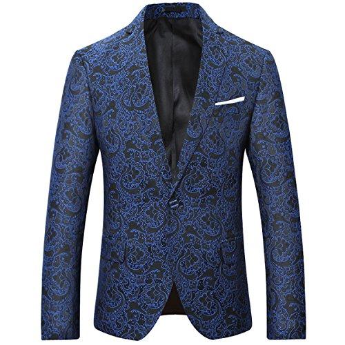 Herren Modern Slim Fit Business Vintage Blumenmuster Anzug Jacke Blazer(Schwarz blau,XL)