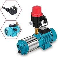 1300W 9,8bar Kreiselpumpe Hauswasserwerk Gartenpumpe Pumpensteuerung mit Durchflussschalter und Manometer 6000L/h