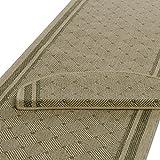 Teppich Läufer beige-grün mit rautenförmigem Muster | Qualitätsprodukt aus Deutschland | kombinierbar mit Stufenmatten | 3 Breiten und 18 Längen (80 x 300cm)