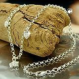 Latotsa Silberkette Sterling Silber 925 Charmanhänger Anker Kette Halskette Ankerkette mit Herz Schmetterling Anhänger Collier Kurz 38cm - 2
