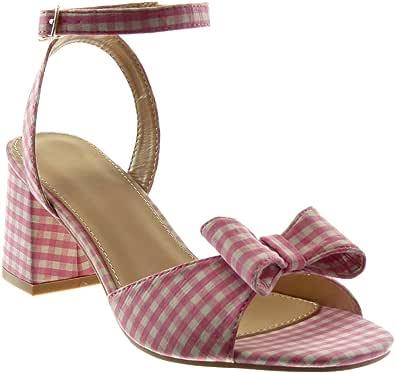 ANGKORLY - Scarpe Moda Sandali Mules con Cinturino alla Caviglia Donna a Scacchi Nodo Tanga Tacco a Blocco Alto 7 CM - Rosa 708-14 T 37