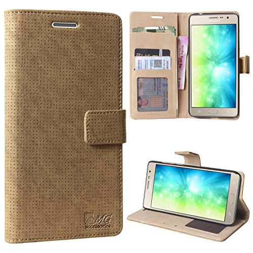 DMG On7 Pro Flip Cover, Ultra Luxurious Leather Wallet Card Slot Holder Carrying Case for Samsung On7 Pro (Latte)