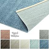 Designer-Teppich Pastell Kollektion | Flauschige Flachflor Teppiche fürs Wohnzimmer, Esszimmer, Schlafzimmer oder Kinderzimmer | Einfarbig, Schadstoffgeprüft (Blau, 40 x 60 cm)