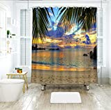 Aawang 3D Duschvorhang Polyester 3D Meerblick Duschvorhänge Sonnenuntergang Glow vor Dem Fenster Badezimmer Vorhang Verdicken Wasserdicht Verdickt Bad Vorhang