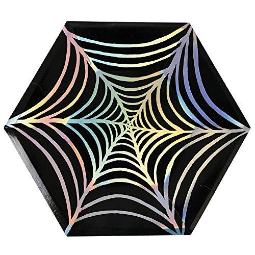 große Halloween Party-Teller Spinnennetz-Folienprint 8er Set
