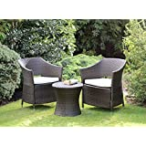 Rattan Effect Armchair Outdoor Garden Furniture Boston Set (Brown)