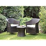 Rattan Effect Armchair Outdoor Garden Furniture Boston Set (Brown)