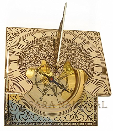 c032f6749517 Marítimo Reloj de sol brújula náutica de latón y con caja de madera náutico  decoración