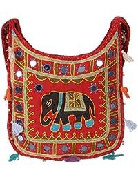 Women's Embordierd Multi Coloured Shoulder Bag/Traditional Bag/Jhola/Jaipuri Rajsthani Bag - B07D7GN8PC