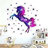 Martin Kench kinderkamer wandtattoo, eenhoorn sterrenhemel wandsticker vinyl behang wandsticker decoratie voor meisjes kinder