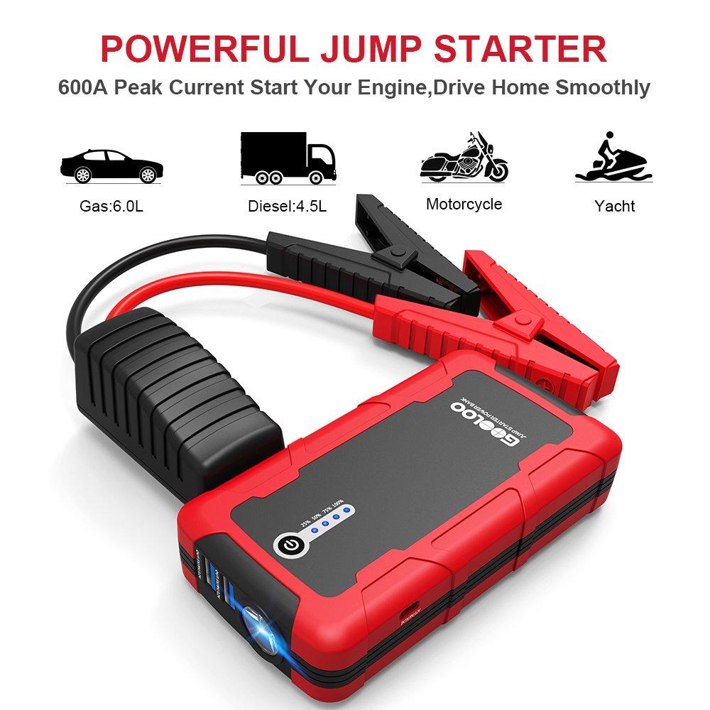 1200 A batteria portatile per auto 15000 mAh avviamento corrente di picco SuperSafe GOOLOO Avviatore per auto