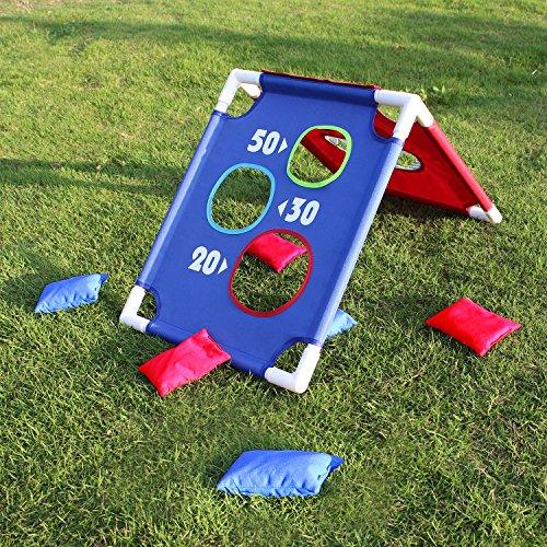 OOFIT Cornhole Board Set, Kinder Spielzeug für Drinnen und Outdoor, Abnehmbar, mit 6 Bean Bags und Eine Tasche