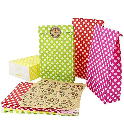 Kbnian 24 Stück Geschenktüten Papiertüten mit 36 Aufkleber Farbigen Punkt Papiertragetaschen für Kinder Geburtstagsparty, Ostern, Weihnachten, Hochzeit 4 Farben(grün, gelb, rot, rosa)