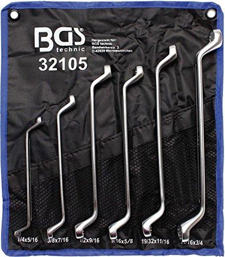 """BGS 32105 Doppelringschlüssel-Set, 75° gekröpft, 1/4\""""\"""" - 3/4\""""\"""", Zollgrößen, 6-tlg."""