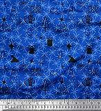 Soimoi Blau Viskose Chiffon Stoff Schneeflocke, Ornament &