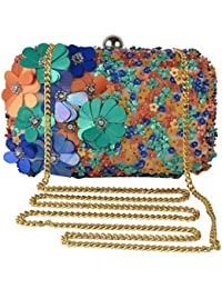 Revolution Handicraft Party Wear Hand Embroidered Box Clutch With Flower & Leaf Work By Sequence And Beads On... - B07FBZV4BN