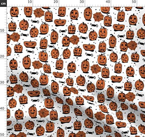 Kürbis, Halloween, Orange, Gespenstisch, Gruselig Stoffe - Individuell Bedruckt von Spoonflower - Design von Andrea Lauren Gedruckt auf Bio Musselin