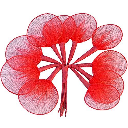 100pz racchette tulle porta confetti per segnaposto bomboniere fai da te (rosso)