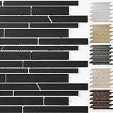 Mosaikfliesen Teros Schräg Geschnitten | Wand-Mosaik | Mosaik-Fliesen | Naturstein-Mosaik | Fliesen-Bordüre | Ideal für den Wohnbereich und fürs Badezimmer (auch als Muster erhältlich) (Schwarz)
