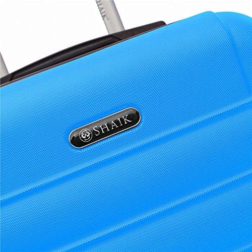 SHAIK SerieCLASSIC JFK Design Hartschalen Trolley, Koffer, Reisekoffer 4 Doppelrollen Zwillingsrollen, Zahlenschloss (Handgepäck, Dunkelblau) - 6