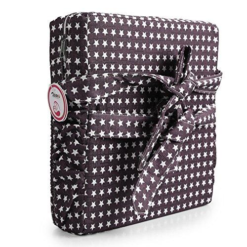 Zicac Sitzerhöhung Sterne Muster Tragbare Sitzerhöhung mit Seitentasche für Kinder Seat Pad (Quadra, Kaffee Sterne)