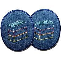 Set 2 Knieflicken Jeans Legosteine Patch Kinder Hosenflicken zum aufbügeln