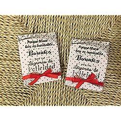 Lágrimas de Felicidad para Bodas con pañuelo tema musical rojo. Personalizable. 70 unidades.