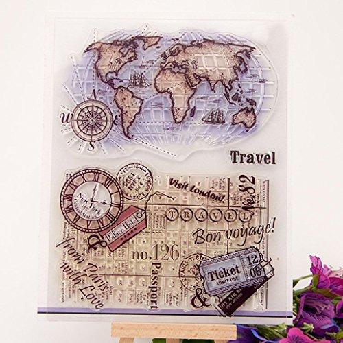 SimpleLife Transparenten Briefmarken, Klare Briefmarken für Scrapbooking Fotoalbum DIY Dekor Silikon Stempel + Carbon Stahl Metallrahmen Weltkarte - Weltkarte Scrapbook-papier