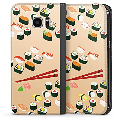 DeinDesign Samsung Galaxy S7 Edge Leder Flip Case Tasche Hülle Sushi Food Essen