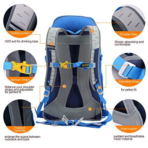 Eshow Unisex Erwachsene Nylon Wasserdicht Trekkingrucksack Wanderrucksack Camping Rucksack Outdoor 30L Blau02