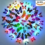 Pk (Pack Of 11)Led Cute Lamp Sticker Colorful Color Changing Beautiful Butterfly Led Night Light Home Decor Wall Night Lamp