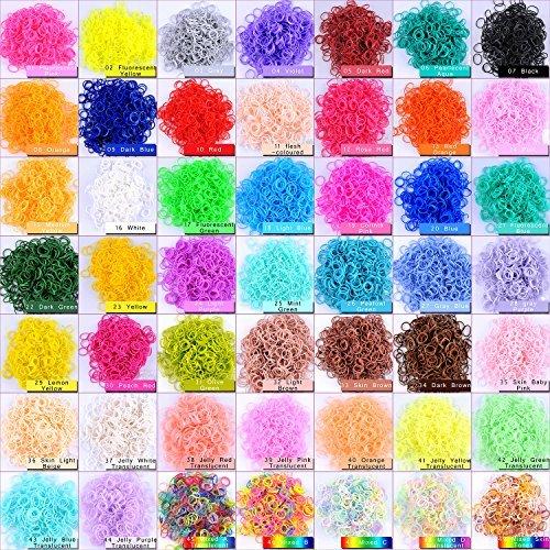 Kirinstores ® 6000 PCS 240 Clips Bands Refills für Loom Regenbogen -Armband-Kleid zu machen (600 Stück von 10 Farbe sortiert) ... (Loom 6000 Bands)