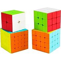 Cooja Speed Cube Pack 2x2 + 3x3 + 4x4 + 5x5, Paquet de 4 Puzzle Cube Magique de Vitesse sans Autocollant, Durable Lisse…