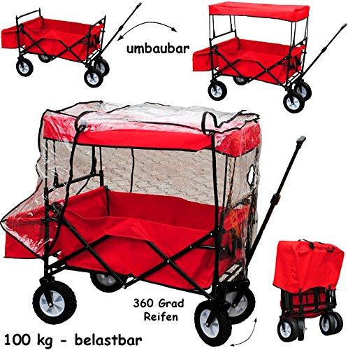 Bollerwagen / Leiterwagen - abnehmbares DACH & Regenschutz - 100 kg belastbar ! ___ faltbar & klappbar - ROT - incl. Tasche - wasserfest & wetterfest - Plane - waschbar - STABIL - 360 Grad Hartgummi Reifen - mit Deichsel - für Kinder & Erwachsene / z.B. für die Puppe natur - Transportwagen / Strandwagen - Regenplane - Spielzeugwagen - Handwagen & Einaufswagen - Sonnenschutz - Überdachung / Deichselwagen - stabil Außen & Innen - Beachwagen