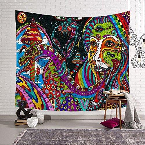 HmDco Nordic Wandteppich Schlafzimmer Dekoration Wand Decke hängende Tuch Hintergrund Wandbehang, rot, 203 * 150 cm