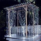 3m x 3m LED Lichterkette Vorhang 8 Modi Leuchtvorhang Mit
