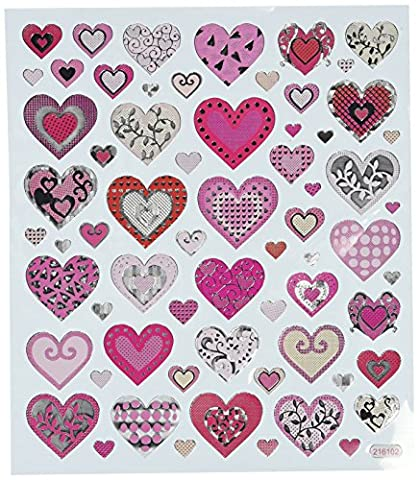 Multicolored Stickers-Pink Hearts
