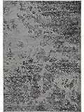 Benuta Vintage Teppich im Used-Look, Kunstfaser, Anthrazit, 80 x 150.0 x 2 cm