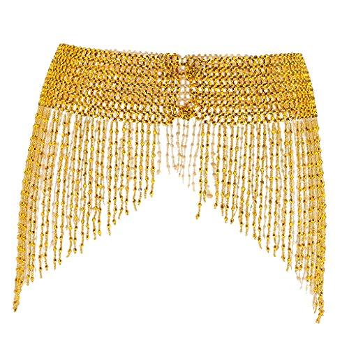 Sharplace Damen Quaste Hüftgürtel Bauchtanz Hüfttuch Gürtel Tanz Schal für Kostüm - Dunkles Gold